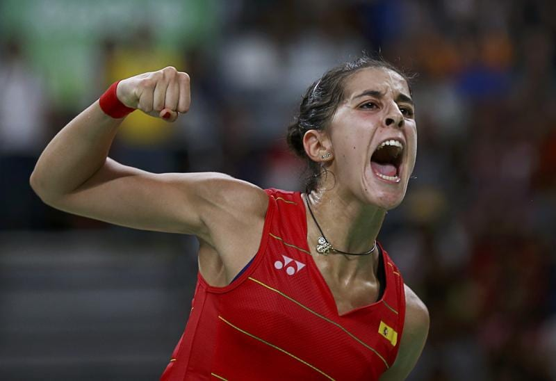 Carolina Marin celebrates during her match against PV Sindhu.  (REUTERS)