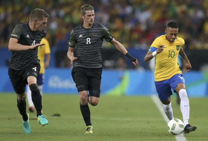 Neymar  opened the scoring via the bar with a sumptuous dipping effort from 25 yards for his third goal of the tournament. (REUTERS)