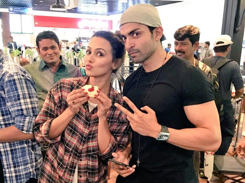 Actor Gurmeet Choudhary shared this photo celebrating the birthday of his co-star, Sana Khan, on Sunday. (Twitter)