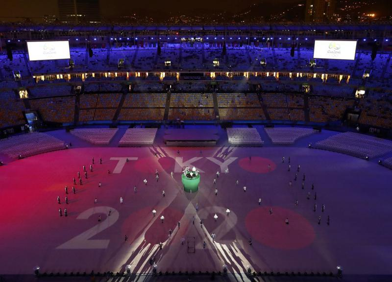 A projection for the Tokyo 2020 Olympics is seen. (REUTERS)