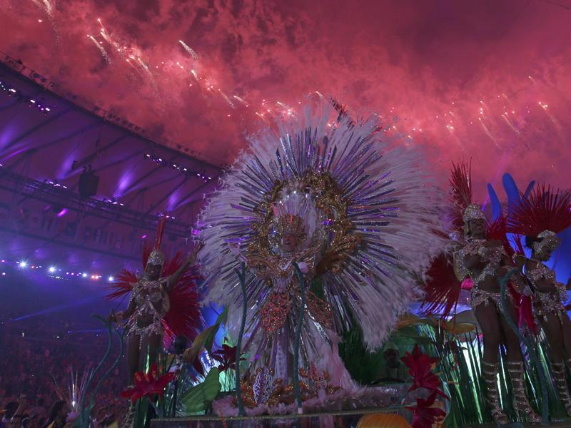 Performers on a carnival float take part in the closing ceremony. (REUTERS)