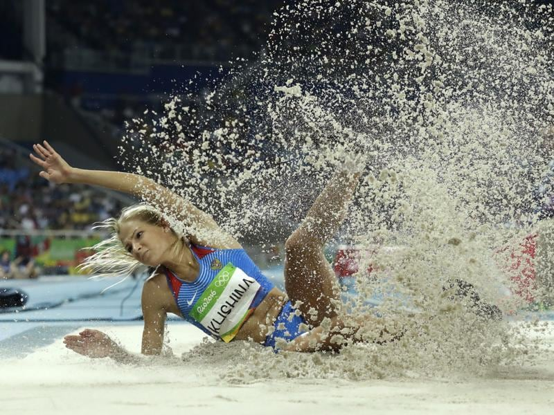Russia's Darya Klishina competes in the women's long jump final at the Olympic stadium in Rio de Janeiro on  Aug. 17, 2016.  (Matt Dunham / AP Photo)