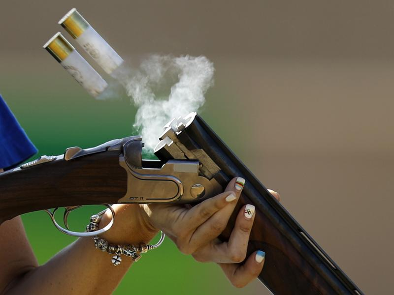 Alessandra Perilli, of San Marino, competes during the trap women's qualification at the 2016 Olympics in Rio de Janeiro on August 7, 2016. (Hassan Ammar / AP Photo)