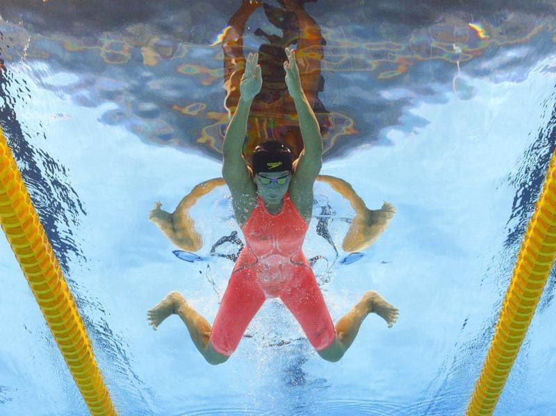 Russia's Yulia Efimova competes in a heat of the women's 100-metre breaststroke during the swimming competitions at the 2016 Rio Games on August 7, 2016. (David J Phillip/ AP Photo)