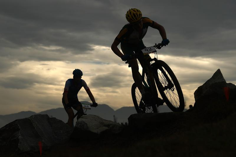 Athletes ride at the Mountain Bike Centre. (Getty Images)