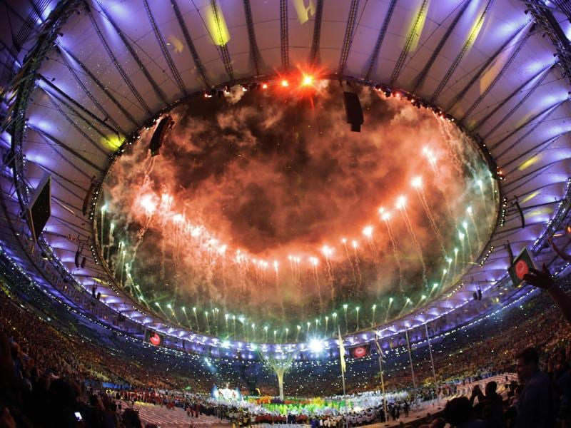 Pyrotechnics erupt during the closing ceremony of the Rio Olympics in the Maracana stadium in Rio de Janeiro, on August 21, 2016. (AP)