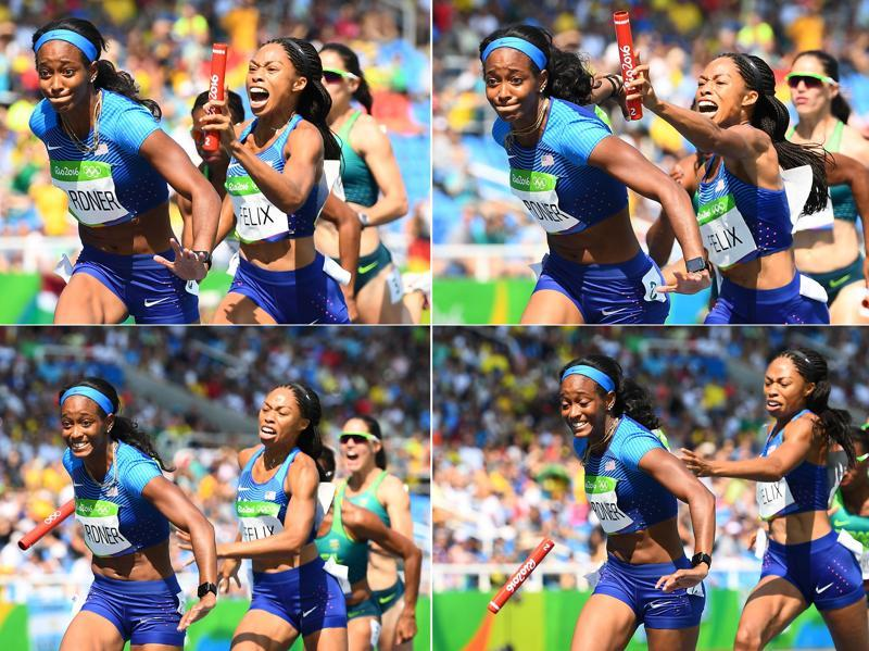 A combination photo shows US' Allyson Felix failing to hand the baton to her partner English Gardner during the women's 4 x 100m relay round 1 at the Olympic Stadium in Rio de Janeiro on August 18, 2016. (Franck Fife/ AFP Photo)