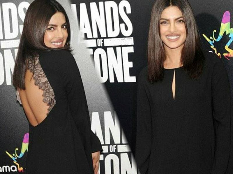 Priyanka Chopra stunned in a little black dress (LBD) as she arrived at the premiere of Hands Of Stone in New York City on Monday.