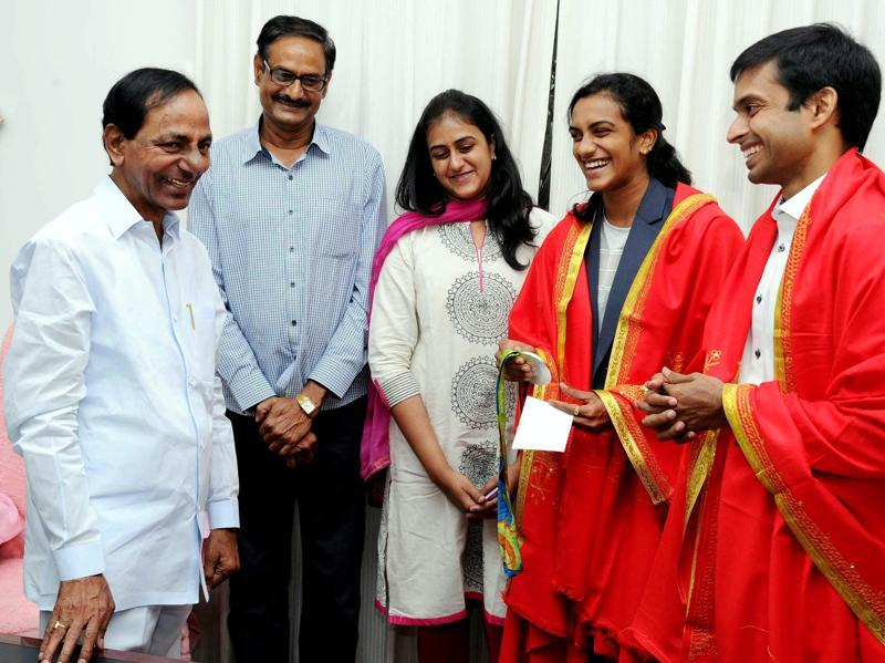 Sindhu with Gopichand, sister Divya and father PV Ramana meeting Telangana Chief Minister K Chandrasekhar Rao in Hyderabad. (PTI)