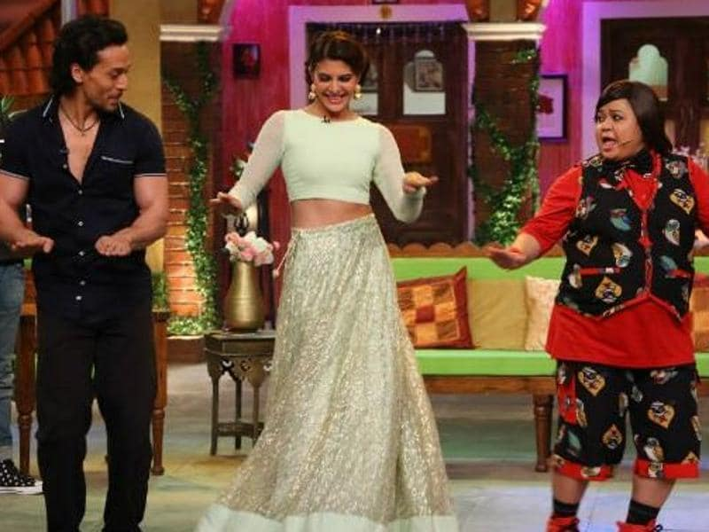 (From left) Tiger Shroff, Jacqueline Fernandez and Bharti Singh can be seen shaking a leg on Comedy Night Live to the film's most popular track, Beat Pe Booty. (Twitter)