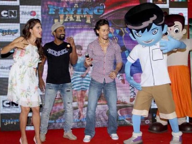 (From left) Jacqueline Fernandez, Remo D'souza, Tiger Shroff  danced along with the characters Krrish and Chota Bheem . Interestingly,  the film was also primarily targeted at kids with its superhero theme.  (Twitter)