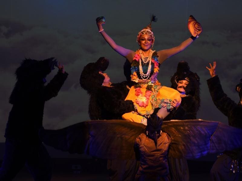 Prior to Krishna, Shobana along with the troupe has also travelled across the world with her show, Maya Ravana. It is a musical dance ballet based on several events from the Ramayana.  (AFP)