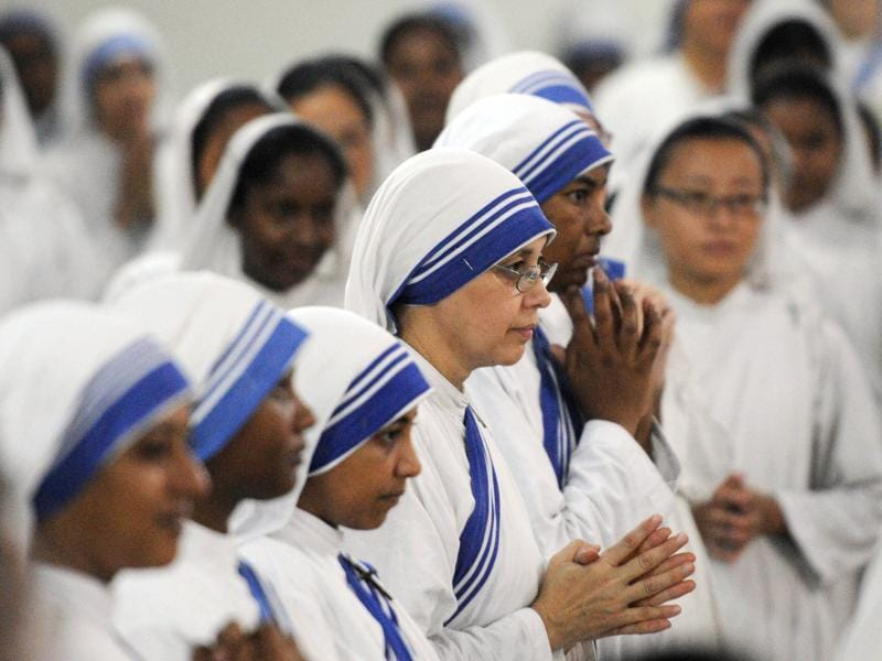 Prayers were organised across Missionaries of Charities centres to mark the day. Nuns  attended prayer ceremonies at Mother House, the global headquarters of the Catholic Missionaries of Charity order,  in Kolkata.  (Subhankar Chakraborty/HT PHOTO)