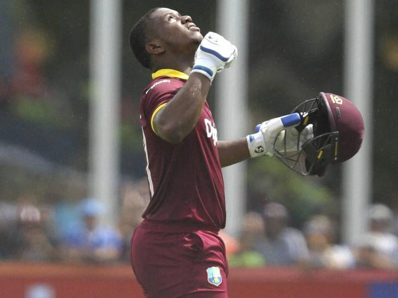 West Indies' Evin Lewis reacts after scoring a century. (AP Photo)