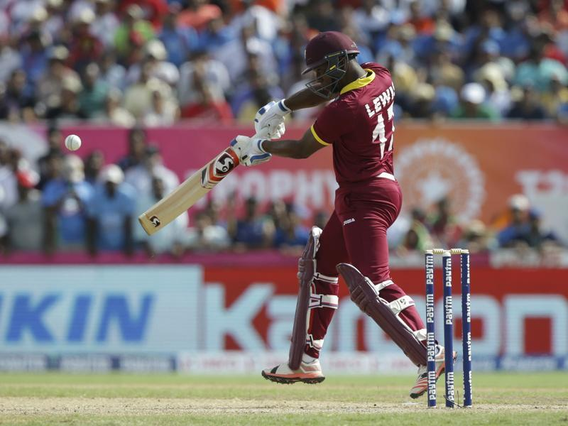 West Indies' Evin Lewis bats during the first Twenty20 international cricket match. (AP photo)