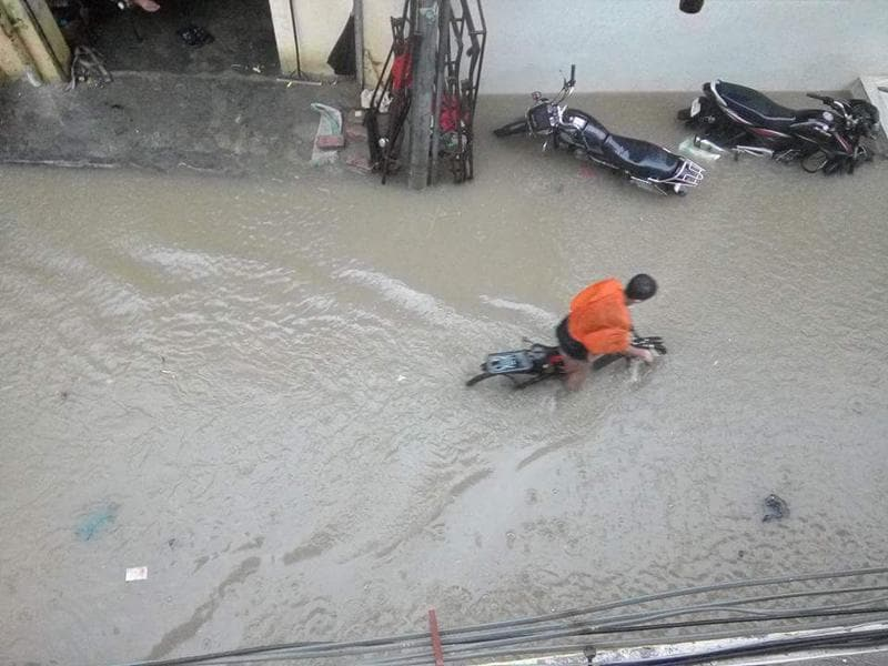 A flooded area in Ferozepur after the heavy downpour on Saturday. (HT Photo)
