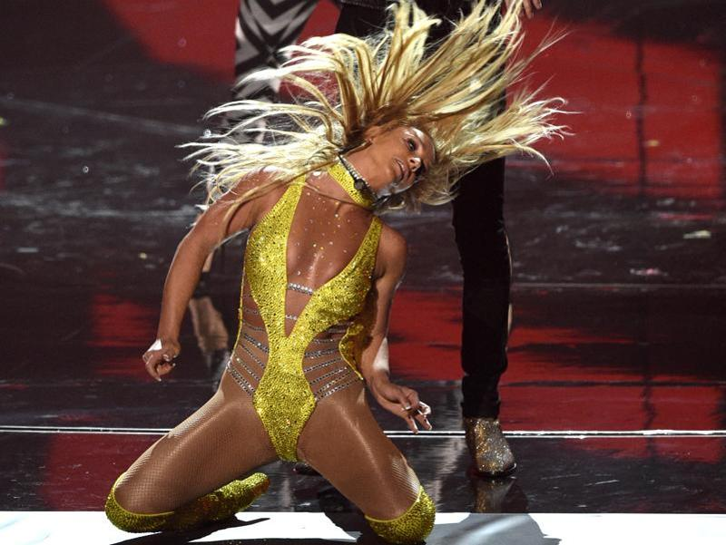 Britney Spears, and G-Eazy perform at the MTV Video Music Awards at Madison Square Garden on Sunday. Britney made her VMA comeback but was accused of lip-syncing her entire performance. (Chris Pizzello/Invision/AP)