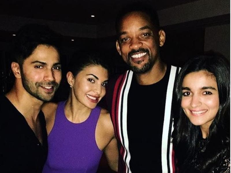 Will Smith strikes a pose with Alia Bhatt and Jacqueline Fernandez at Akshay Kumar's party in Mumbai.  (Instagram)