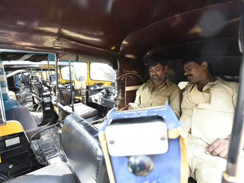 Though not all, but many auto rickshaw drivers participated in the strike on Wednesday. (kunal patil/Ht photo)