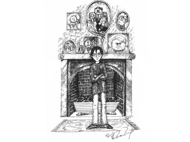 Question: Why is Harry posing in front of the Dursley's fireplace like he just hopped out of the floo network? Also, notice Dudley's nose. (Pottermore)
