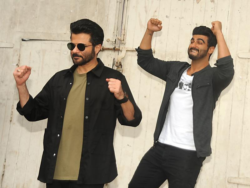 Bollywood actors Anil Kapoor and Arjun Kapoor during the promotion of a TV show. (AFP)