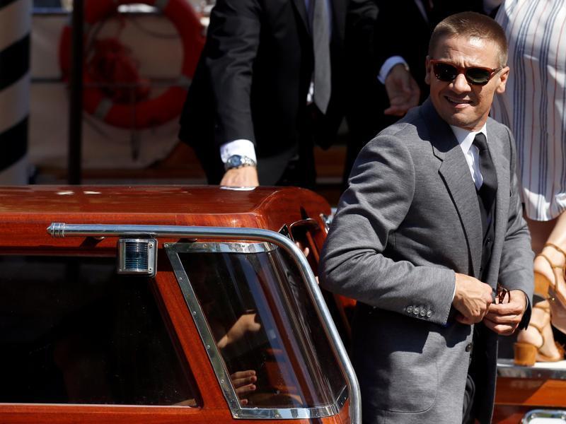 Actor Jeremy Renner arrives by taxi boat at the photocall for the movie The Light Between Oceans at the 73rd Venice Film Festival. (REUTERS)