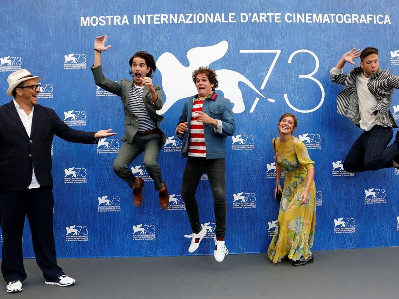 Director Gabriele Muccino looks as actors Joseph Haro, Brando Pacitto, actress Matilda Lutz and actor Taylor Frey (L-R) attend the photocall for the movie L'Estate Addosso at the 73rd Venice Film Festival in Venice, Italy. (REUTERS)