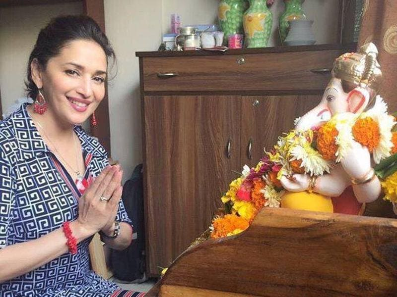 Like many other celebrities, Madhuri Dixit is also known to celebrate Ganesh Chaturthi with great zeal and vigour. (Twitter)