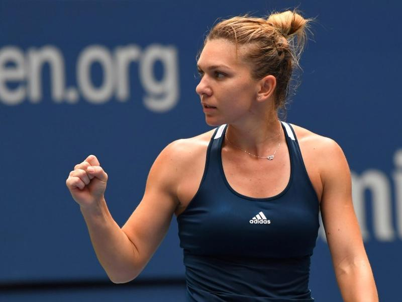 Simona Halep of Romania after beating Timea Babos of Hungary in three sets.  (Reuters)