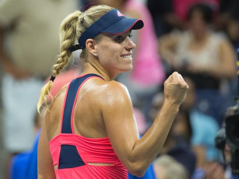 Angelique Kerber of Germany celebrates victory over Petra Kvitova of the Czech Republic. (AFP)