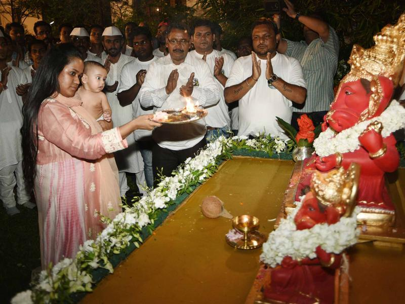 Arpita took lead in performing rituals during Ganesha festival this year. (Yogen Shah)