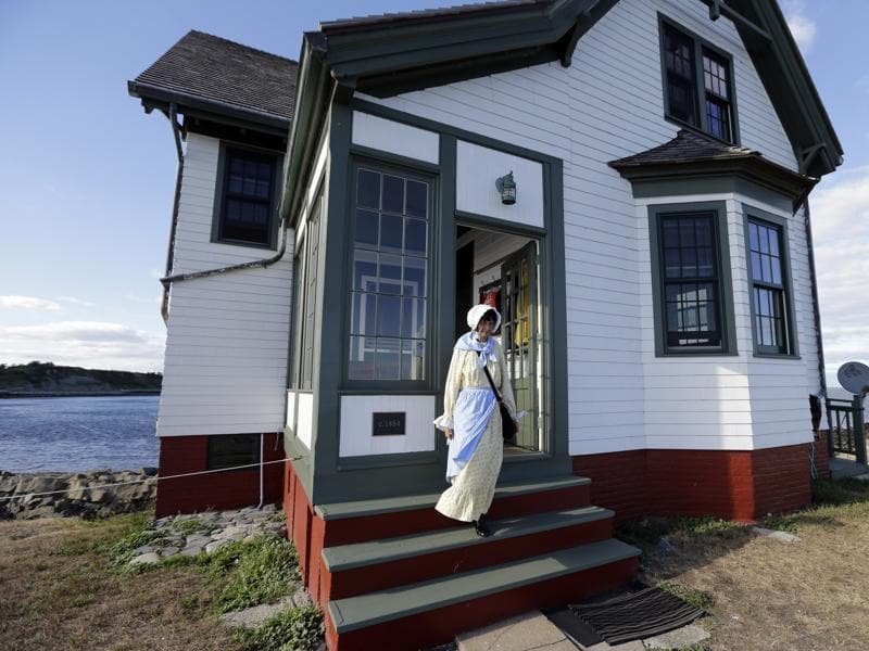 Sally steps from the keeper's house on Little Brewster Island in Boston Harbor.  (AP)