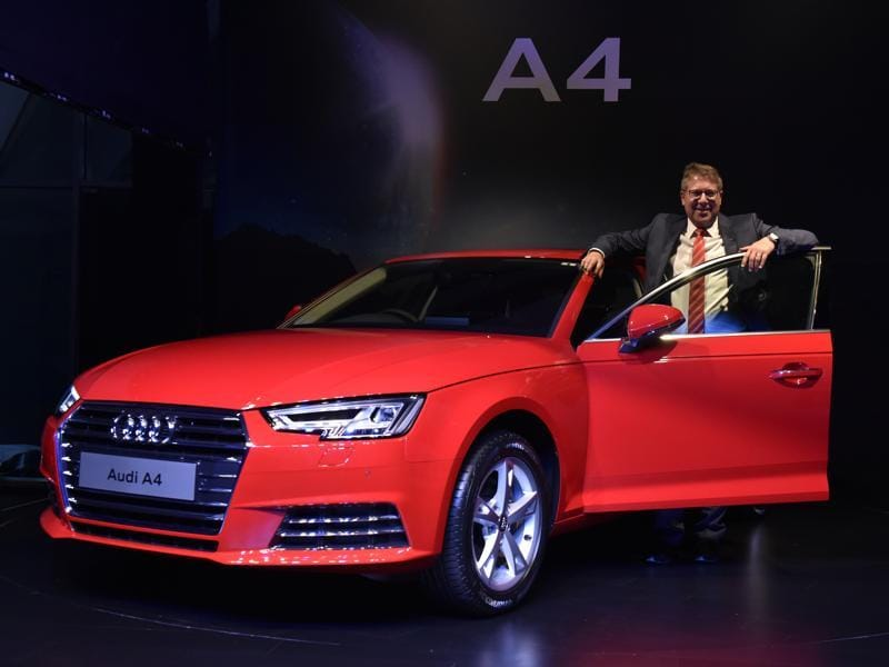 German luxury car maker Audi on Wednesday launched its all new A4 sedan in India priced between  Rs 38.1 lakh and Rs 41.2 lakh, looking to cash in on the upcoming festive season.  Joe King, who heads Audi India, launched the vehicle at an event in New Delhi. (Mohd Zakir/HT Photo)