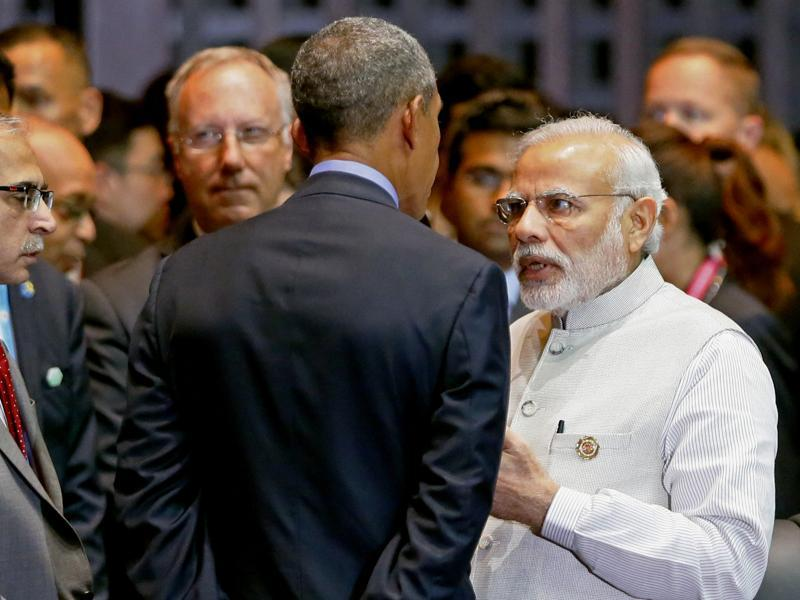 Modi, right, talks with Obama before the start of the East Asia Summit on the last day of the 28th and 29th ASEAN Summits in Vientiane, Laos, on Sept. 8, 2016 .  (AP)