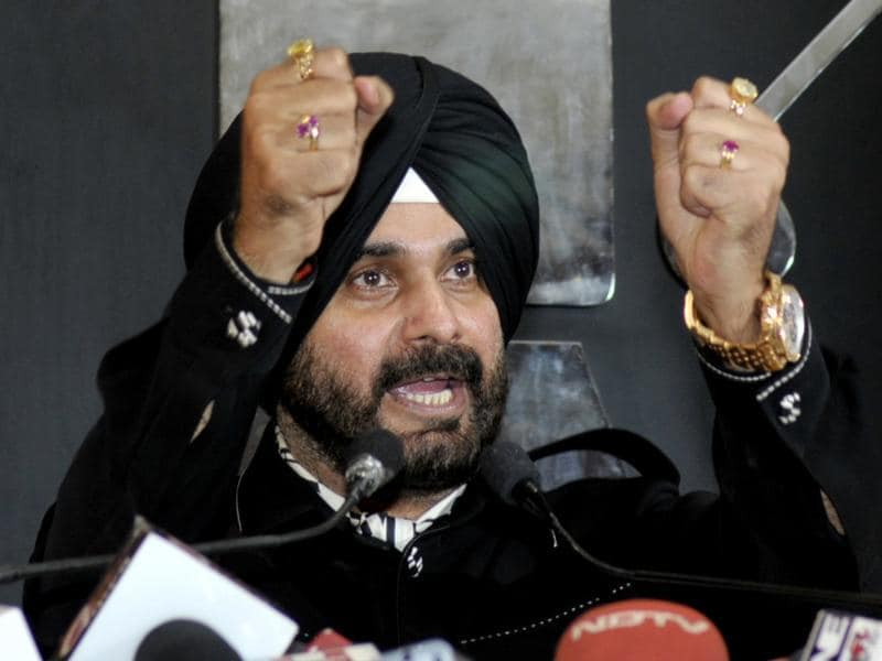 "On Kejriwal, Sidhu said: ""Kejriwal ji tweeted about meeting with me, but he said half truth. Let me complete it."" (Ravi Kumar/HT Photo)"