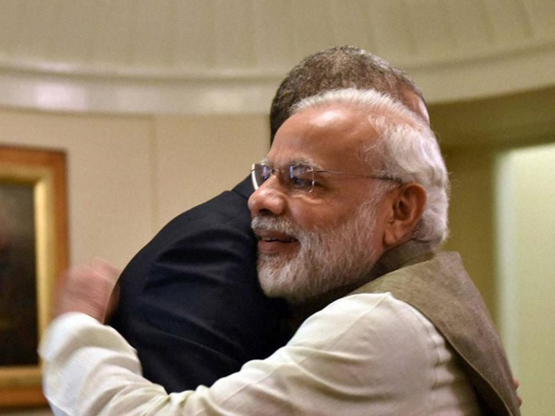 Modi hugs Obama during a meeting in the Oval Office of the White House in Washington. (PTI)