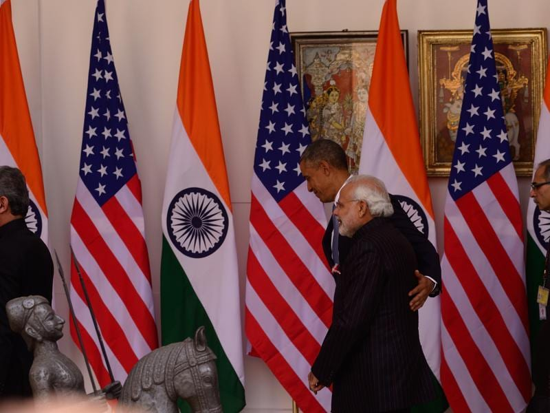 Modi and Obama before a meeting at Hyderabad House in New Delhi . (Pradeep gaur/mint)