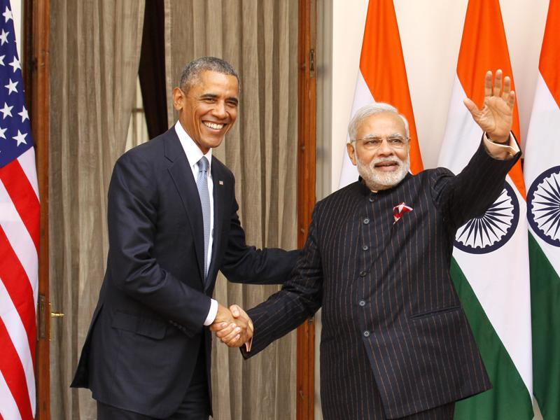 Obama and Modi at Hyderabad House, in New Delhi, India, on January 25,  2015. (Hindustan Times)