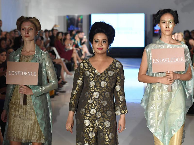Maharashtra chief minister Devendra Fadnavis's wife, Amruta Fadnavis was also seen at the fashion gala on Thursday.  She was the showstopper for a Pune-based fashion design institute, where she spread the message of girls' education as well as promote handlooms. (AFP)