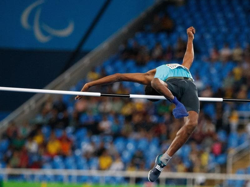 Mariyappan Thangavelu with his winning effort of 1.89m. (AP)