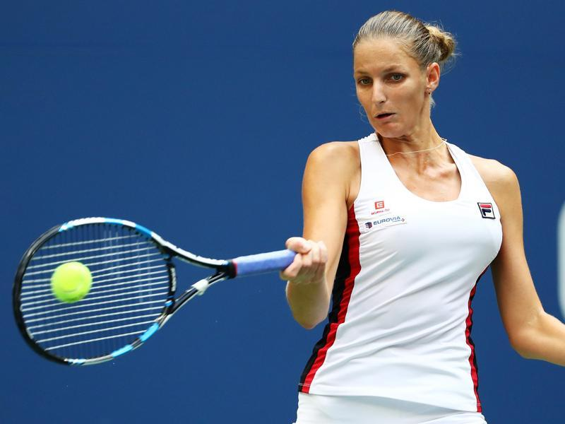 Pliskova hits a forehand during a rally. (AFP)