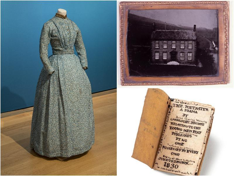 (Clockwise from left) Charlotte Bronte's day dress, made of cotton and wool; Haworth Parsonage, circa 1850s, where Bronte lived nearly all her life; and 'The Poetaster: A Drama by Lord Charles Wellesley,' a Charlotte Bronte miniature book.  (National Portrait Gallery, London)