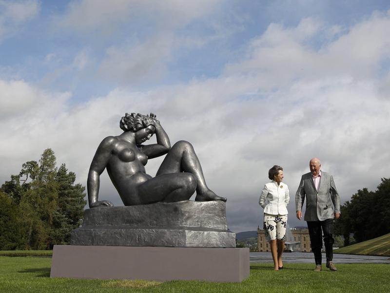 A piece by Aristide Maillol titled 'La Montagne' at Chatsworth House near Bakewell in Britain. (REUTERS)