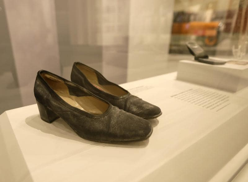 A pair of dust-covered shoes are displayed at the New York State Museum in Albany. The shoes are part of a new component of the museum's exhibit of the September 11, 2001, terror attack on the World Trade Centre. The 'World Trade Center Survivors' addition tells the stories of three of the thousands of people who survived the 9/11 attack in Lower Manhattan.  (AP)