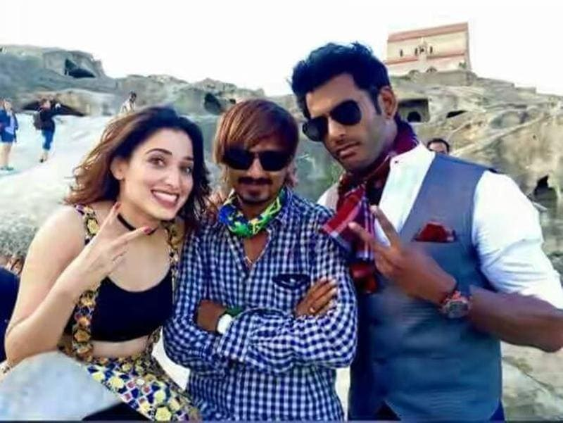 Actor Vishal shared his photo with co-star Tamannaah from distant Georgia on September 9 where Kaththi Sandai team was shooting two songs. (Actor-Vishal/Facebook)