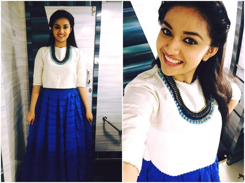 And Keerthy Suresh is a happy girl in her new dress. (ActressKeerthySuresh/Facebook)