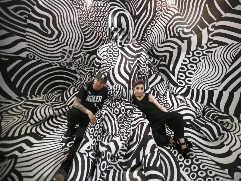 Matsuyama's installation features a strong contrast of black and white, which he learned from dazzle camouflage that was used mainly during World War I. (AP)