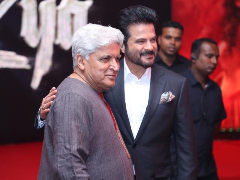 Lyricist Javed Akhtar with actor Anil Kapoor during the music launch of film Mirzya in Mumbai. (IANS Photo)