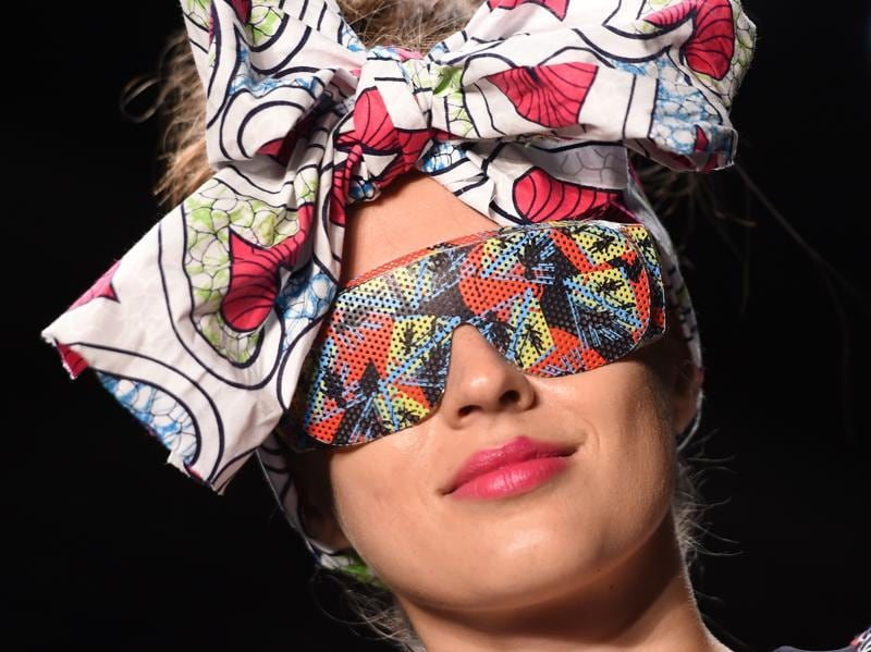 New York might have the reputation as one of the less wacky fashion weeks when it comes to the clothes, but these accessories on show told a different story.  (AFP)