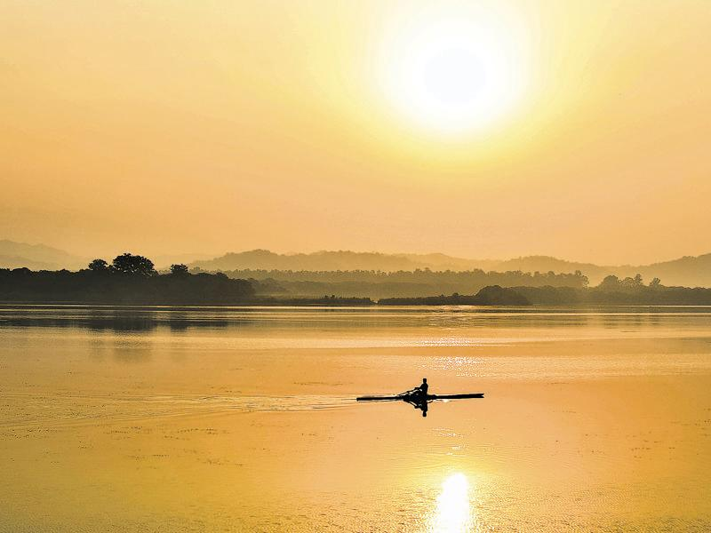 With the Shivalik ranges of the mighty Himalayas providing the perfect backdrop, a rower on the serene waters of the Sukhna Lake reflects the stay fit spirit of Chandigarhians. Sukhna is the soul of the city any time of the day. (Photo: Ashima Raizada)